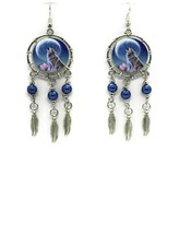 Wolf Song Drop Dangle EARRINGS With Blue Pearl Accents Western Fashion NEW - $11.87