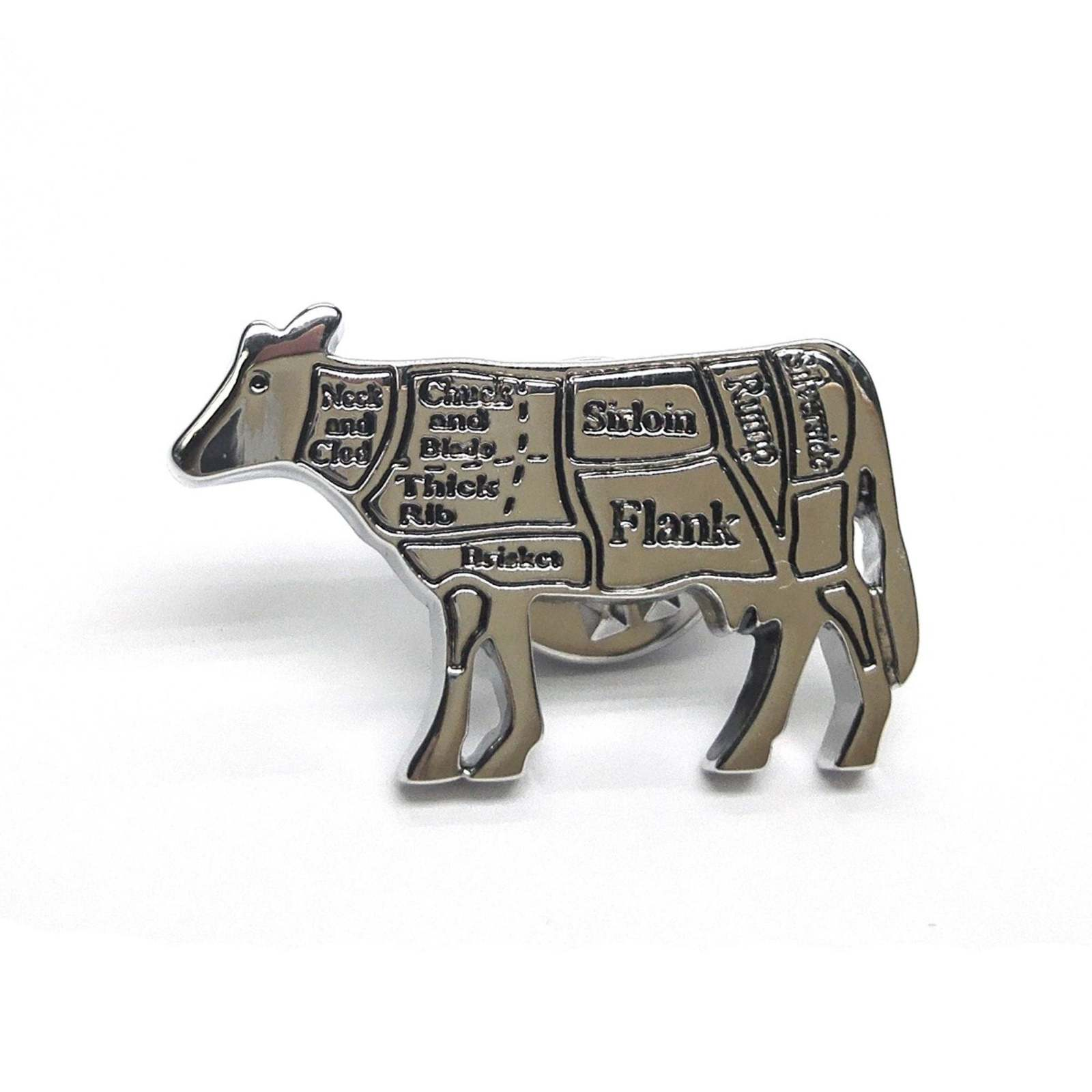 Butchers Cuts of Beef Cow Lapel Pin Badge / tie pin, Lapel Pin Badge