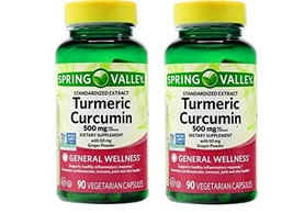 Spring Valley Turmeric Curcumin 500mg with 50mg Ginger Powder 180 Caps x 2 - $70.15