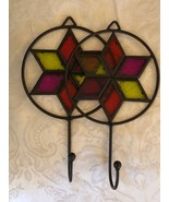Lot of 2 Colorful Towel Hooks Each have Acrylic stars in center - $18.81