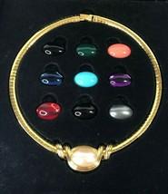 Joan Rivers Omega Slide Necklace Wardrobe Ten Color Changeable Cabochons... - $47.98