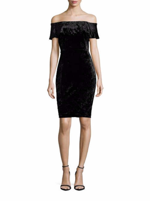 H Halston Black Velvet Off-The-Shoulder Sheath Dress ( MEDIUM ) NWT $99.00