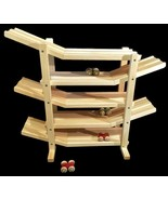 FLIP ROLLER CAR RACE TRACK ROLLER Amish Handmade Wood Toy w/ 6 Colored C... - $108.87