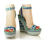 Christian Louboutin Blue Green Check Platform Wedges Slingback Anckle St... - $246.51