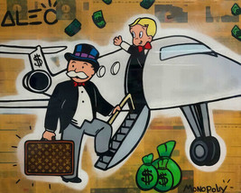 "Alec Monopoly Oil Painting on Canvas graffiti art Private Airplane 28x36"" - $21.77+"