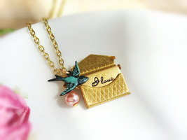 Gold Envelope Love Note Locket Patina Sparrow Charm Pink Pearl Envelope ... - $34.50