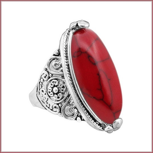Marbled Red Oval Howlite Natural Stone In Antiqued Flower Silver Plated Band