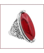 Marbled Red Oval Howlite Natural Stone In Silver Plated Antiqued Flower ... - $43.95