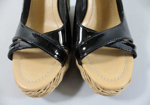 CAR SHOE 37 B  wedge high heels black patent leather shoes $395 dust bags box