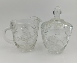 Anchor Hocking Star of David Creamer and Sugar Bowl Set Glass EAPC Presc... - $23.76