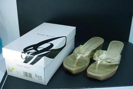 Nine West Cork Wedge Sandals Slide Mule Shoes 7.5 Nwzarend Gold Nib - $29.70