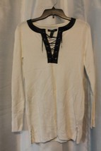 NWT Lauren Ralph Lauren Faux Leather Trimmed White Long Sleeve Sz Small ... - $82.64