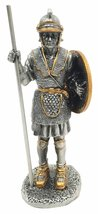 MEDIEVAL KNIGHT WARRIOR W/PIKE & SHIELD PEWTER STATUE SENTRY GUARD - $16.99