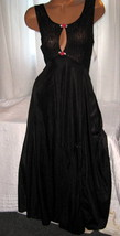 Black Stretch Bodice Long Nightgown L Sexy Slit Keyhole Red Rose Accents - $23.00