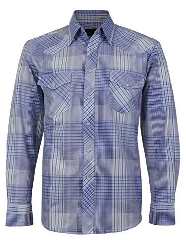 LW Men's Western Cowboy Pearl Snap Long Sleeve Cotton Rodeo Dress Shirt (Medium,