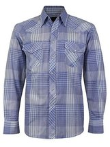 LW Men's Western Cowboy Pearl Snap Long Sleeve Cotton Rodeo Dress Shirt (Medium,