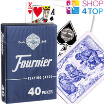 FOURNIER 40 POKER PLASTIC COATED PLAYING CARDS DECK BLUE STANDARD NEW - $5.51