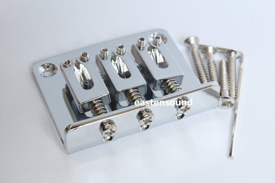 Primary image for 3 String Chrome Adjustable Guitar Bridge Tailpiece for Cigar Box