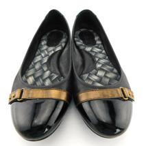 BORN Size 7.5 Black Leather Ballet Flats w/ Patent Cap Toe - $35.00