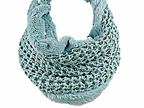 Mint Green Faux Fur Trim Rib Knit Loop Infinity Cowl Neck Scarf Wrap image 3