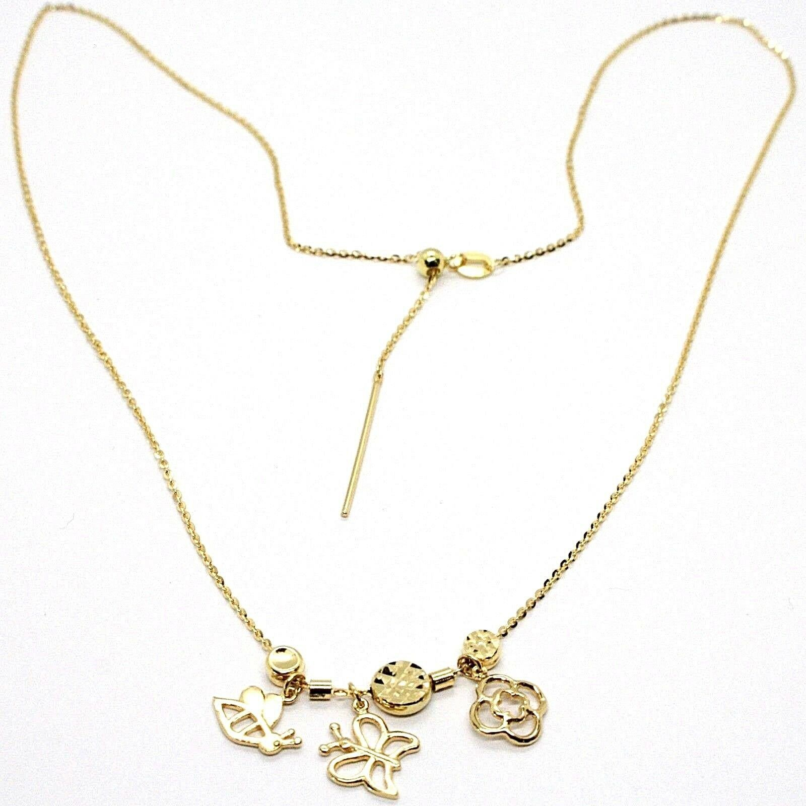 18K YELLOW GOLD NECKLACE, FLOWER, DAISY, BUTTERFLY, BEE PENDANT, MADE IN ITALY