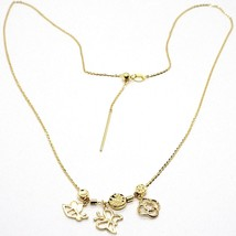 18K YELLOW GOLD NECKLACE, FLOWER, DAISY, BUTTERFLY, BEE PENDANT, MADE IN ITALY image 1
