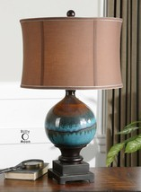 "ELEGANT 29"" GLOSS CERAMIC TABLE LAMP BEIGE SHADE CHARCOAL GRAY RUST DRIPS - $217.80"