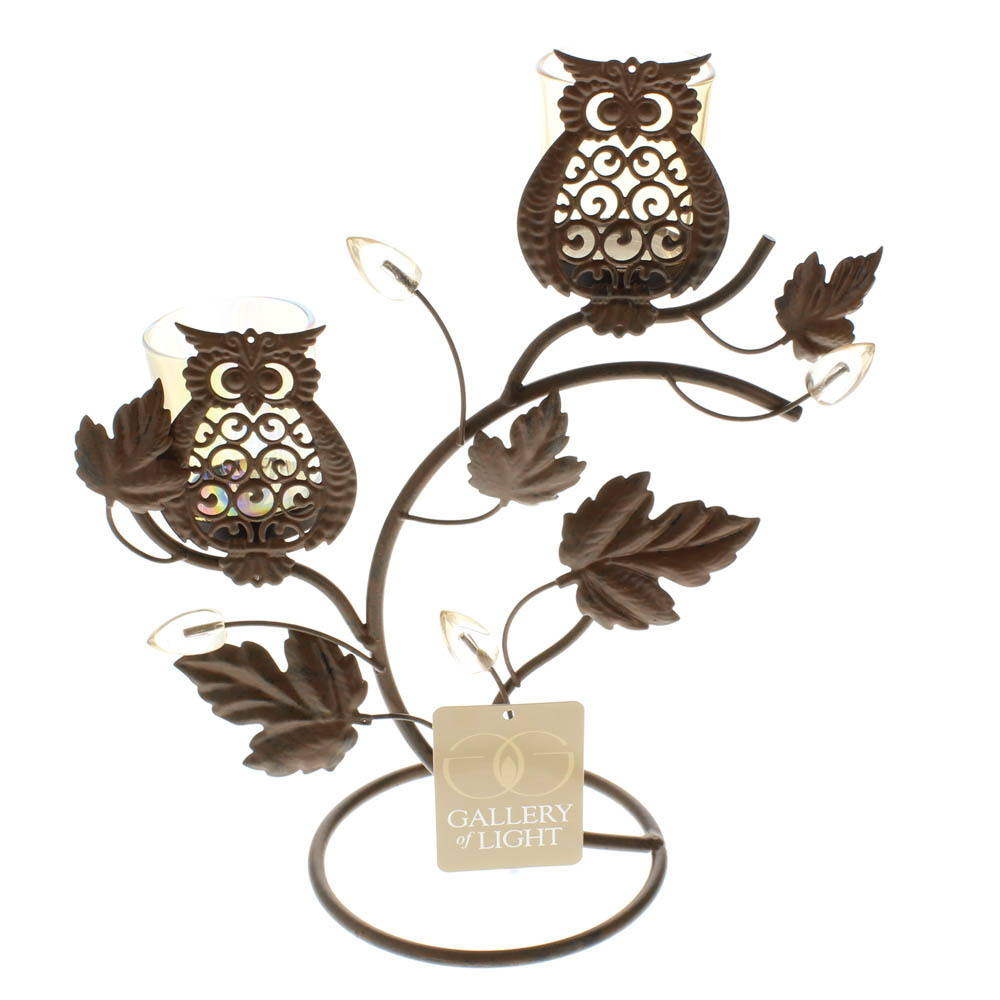 Wise Owl Duo on Vine & Leaf Votive Candle Holder Stand image 4
