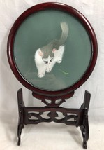 "Chinese Silk CAT KITTEN  Embroidery in Glass with Wood Stand 13.5""  Home... - $64.35"