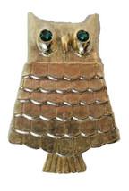 Retro 1960s Avon OWL Solid Perfume Brooch Pin Green Eyes Vtg Gold Tone  - $10.99