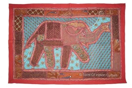 Indian Elephant Patchwork Wall Hanging Throw Tapestry Table Runner X-Mas... - £13.62 GBP