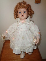 Blowing Bubbles Porcelain Doll with Wand & Bubbles and Seat To Sit On 15... - $39.99