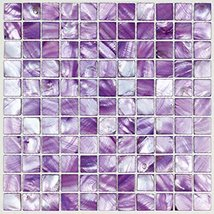 Hominter 11-Sheets Purple Mother of Pearl Mosaic Tile, Stained Natural Seashell  - $230.65