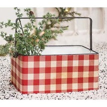 "RED BUFFALO CHECK FARMHOUSE METAL CHRISTMAS BASKET ~ 15"" W x 9.25"" Dp, 7"" H - $59.95"