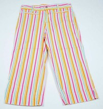 NO BOUNDARIES GIRLS SIZE 12 COLORFUL STRIPED STRETCH CROPPED CAPRIS PANTS - $12.86
