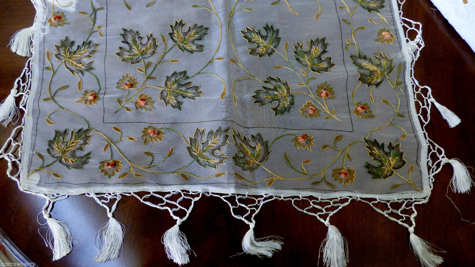 Tablerunner vanity dresser sheer organdy embroidery leaf flower pattern tassels - $27.72