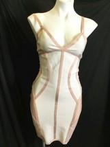 White Peach Trim Herve Leger Women Bodycon Mesh Sleeveless Dress Size Medium M image 1