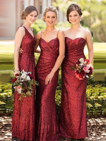 SHEATH/COLUMN BRIDESMAID DRESSES V-NECK LONG SEQUINS BRIDESMAID DRESSES,PD1509