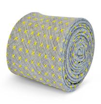 Frederick Thomas mens grey cotton/linen tie with yellow crosses FT3108