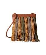 NEW SAM EDELMAN WOMEN'S LEATHER JANE FRINGE CROSSBODY SHOULDER BAG COGNA... - $118.75