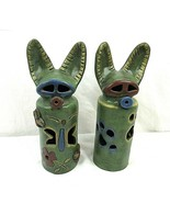 """Vintage Art Pottery Dogs Animals Tealight Holder Candle Covers 12"""" Set of 2 - $49.49"""