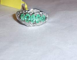 GREEN COLOMBIAN EMERALD OVAL & DIAMOND RING, PLATINUM / SILVER, SIZE 8, ... - $99.99
