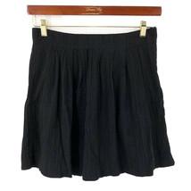 Ann Taylor Loft Skirt Size 2 Black Pleated Flowy Cotton Womens - $9.50