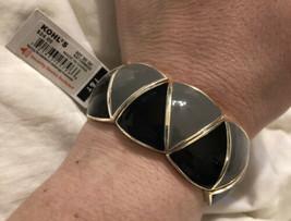 NWT Apt. 9 Jewelry Silver Tone Gray/Black Stretch Bracelet  - $8.90