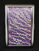 Fujima Metal Handcrafted Purple Stone Zig Zag Design 100s Size Cigarette... - $9.99