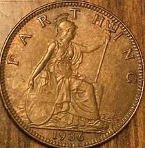 1936 UK GB GREAT BRITAIN ONE FARTHING - $3.53