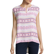 Stylus Short-Sleeve Peasant Top Size S Msrp $36.00 Island White Print - $14.99