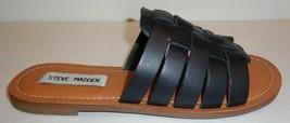 Steve Madden Size 8 MASI Black Leather Slip On Open Toe Sandals New Wome... - $88.11