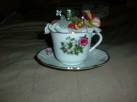 Vintage Handmade Tea Cup & Saucer Pin Cushion Rosenthal Baveria Flowers - $12.86