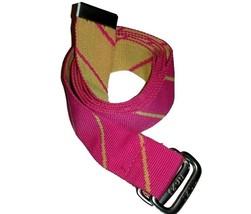 "Izod M Canvas Belt Womens  Medium Pink Yellow Striped 45"" Silver Tone Bu... - $9.76"